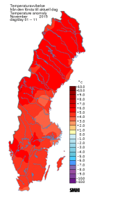 November 1-11, 2015. Sweden is 3 to 5 degrees celsius warmer than normal, according to www.SMHI.se