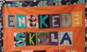 Patchwork art from Enskede Schools 100-year jubilee. Photo: AnnVixen
