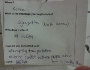 Student assignment on sustainability issue in home country. Photo: AnnVixen