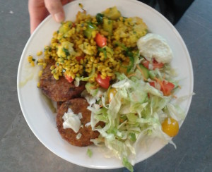 School lunch at Global gymnasium. Organic chick-pea beef. Photo: AnnVixen