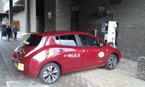 Phoenix Taxi supercharge parked at the university of Newcastle. Photo: AnnVixen
