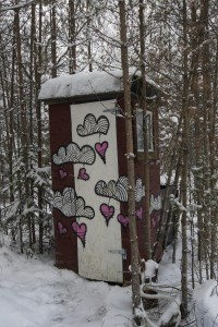 A sustainable outhouse by the edge of the woods. Photo: Agata Mazgaj